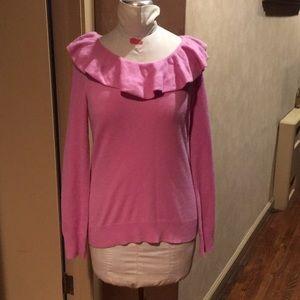 Ralph Lauren cashmere lavender ruffle sweater Sz M